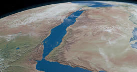 The Red Sea, between Africa and Asia, in the planet earth Animation