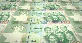 Banknotes of ten Ghanaian cedis of Ghana, cash money, loop Animation