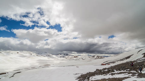 Clouds moving over winter mountains in Iceland Lugavegur trek. Time lapse tilt Footage
