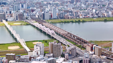 aerial timelapse view from Umeda Sky Building on the Yodo River, Osaka, Japan 画像