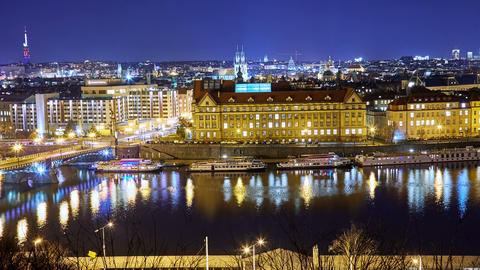 Panoramic view of Prague cityscape at night Footage