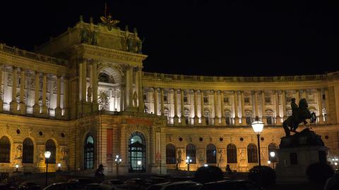 Imperial Palace Hofburg. Night. Vienna. Austria. 4K Footage