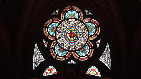 Magnificent colored stained-glass window in the Vienna City Hall. Vienna, Footage