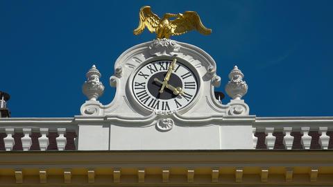 Clock of Schonbrunn Palace. Vienna, Austria. 4K Footage