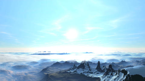 Sunrise above the clouds and mountains Animation