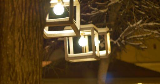 Night Winter Outdoor Lanterns Footage