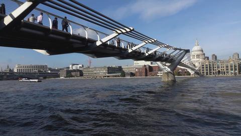 River Thames and Millennium Bridge - LONDON, ENGLAND Live Action
