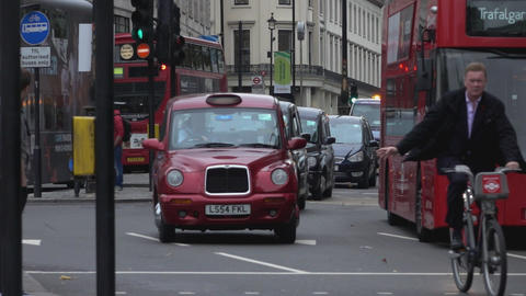 London Taxi cabs and Red Busses - LONDON, ENGLAND Footage