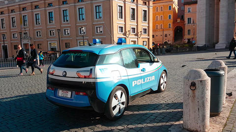 BMW i3 Police Car In Italy - Rear View 영상물