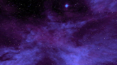 Blue Nebula and Star Fields in Deep Space Animation