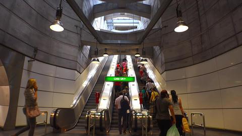 Escalator subway in Vienna, Austria. 4K Footage