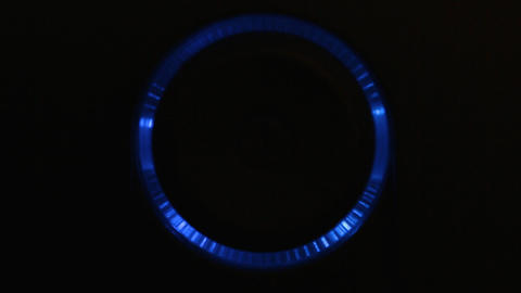 Blue backlight around the power button. Power on, off Stock Video Footage