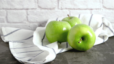 Ripe green apples and napkin Footage