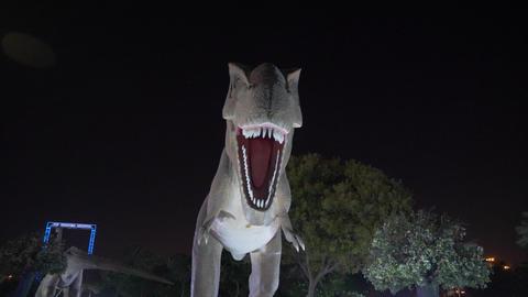 Dubai, UAE - January 13, 2018: people walking in in theme dinosaur park at night Bild