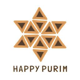 Purim holiday flat design icons of hamantashs in star of david s ベクター