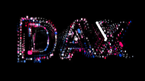 Letters are collected in World stock index DAX, then scattered into strips Animation