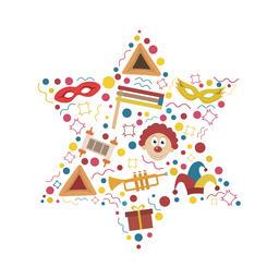 Purim holiday flat design icons set in star of david shape ベクター