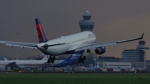 Airbus A330-323 of Delta Airlines landing at Schiphol airport Footage