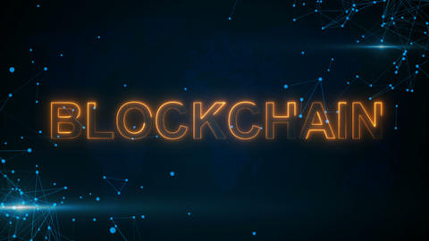 Blockchain with hologram businessman concept 영상물