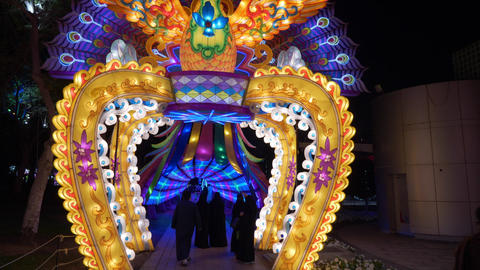 Dubai, UAE - January 13, 2018: entrance to luminous arch with figurine fairy Live Action