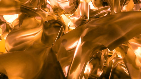 Beautiful abstraction of yellow glowing cloth. Animation... Stock Video Footage