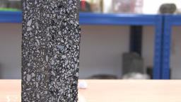 Sample of modern asphalt with a detailed scientific cut, Scientific technology Footage