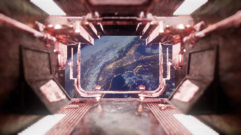 view to the Earth from spaceship tunnel ภาพวิดีโอ