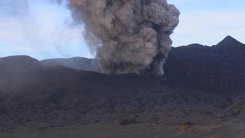 view of the active volcano Bromo Java island, Indonesia (view from the drone) Footage