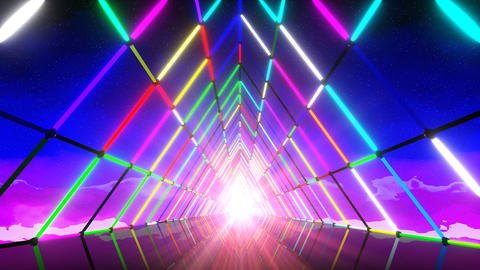 VJ 80's Triangle Neon Tunnel CG動画素材