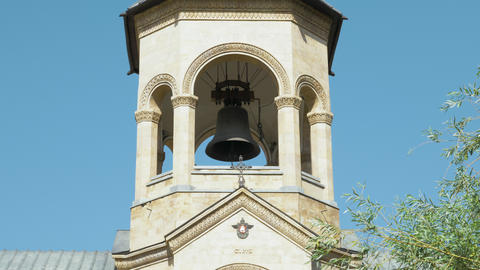 Bell tower in Holy Trinity Cathedral of Tbilisi Tsminda Sameba - Georgia Footage