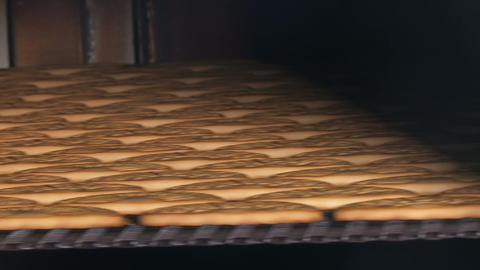 Cookie is baked in the oven. Close-up Footage