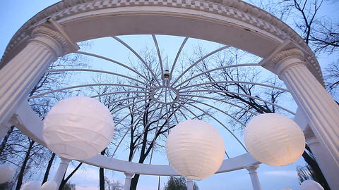 romantic gazebo in the park on a blue sky background Footage