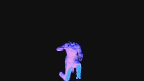 Neon show, colorful men dancing on a black background Stock Video Footage