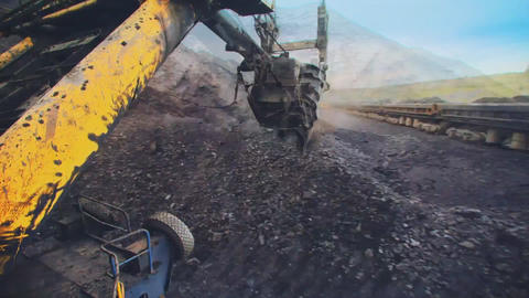 Excavator loading rail cars at the quarry GoPro (time-lapse) Footage