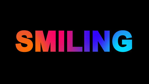 text SMILING multi-colored appear then disappear under the lightning strikes Animation