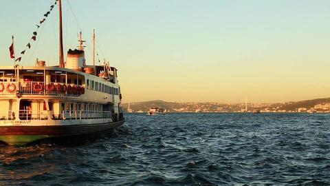 Passenger ship and the Istanbul Bosphorus Bridge moving toward Footage
