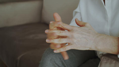 Close-up of woman nervously moving and gesturing hands before meetting with Footage