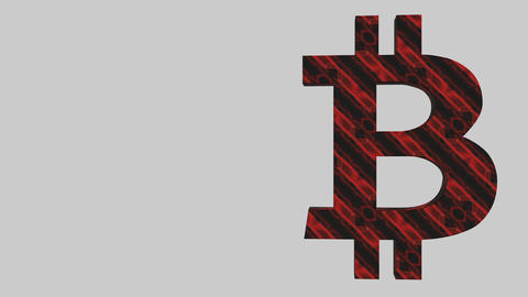 The symbol of growth. Rotation of the bitcoin symbol. Business background. Place Footage
