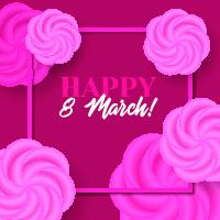 Happy 8 march. Vector card with frame and roses Vector
