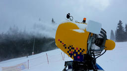 Snow making machine close up. Snow cannon in winter. Snow-gun Image