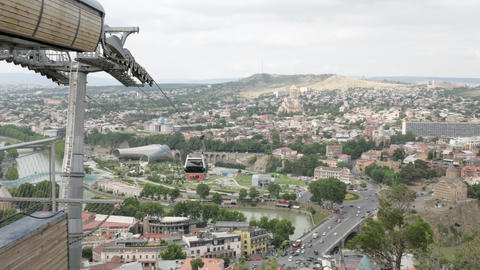 Cableway and view to the Holy Trinity Cathedral of Tbilisi - Georgia Footage