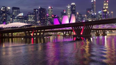 Benjamin Sheares Bridge and Night Skyscrapers of Singapore Footage