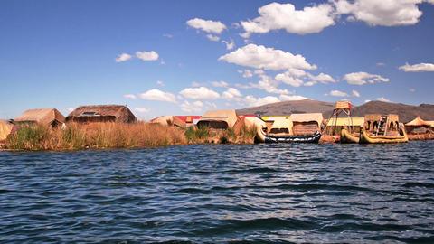 Uros Floating Islands stock footage