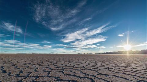 Sunset over Uyuni Salt Flats Footage