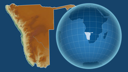 Namibia and Globe. Relief Animation