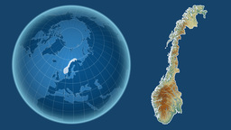 Norway and Globe. Relief Animation