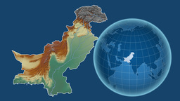 Pakistan and Globe. Relief Animation