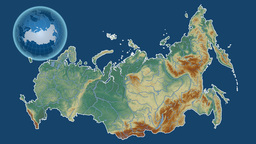 Russia and Globe. Relief Animation