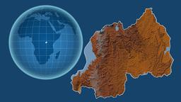 Rwanda and Globe. Relief Animation