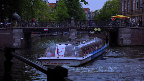 Evening Canal Cruise In Amsterdam City Of Amsterdam stock footage